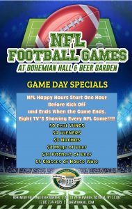 Specials Start One Hour Before Kick Off and Last Until Game Ends!!